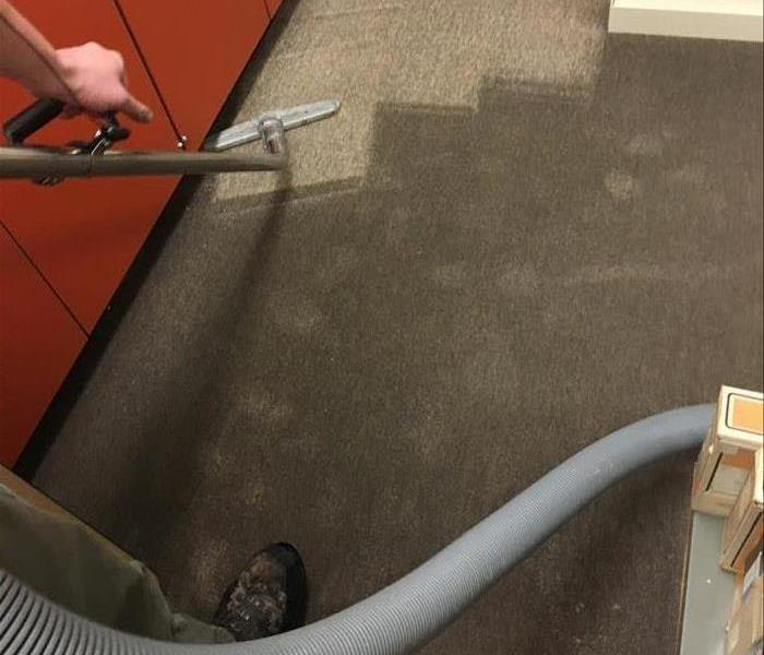 A technician using an extraction hose to remove water from a saturated carpet.