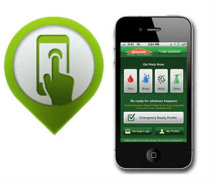 The homepage of the SERVPRO Ready Plan app displays on a smart phone.