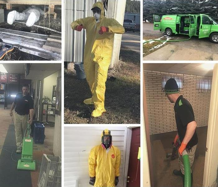 Collage of technicians wearing PPE.